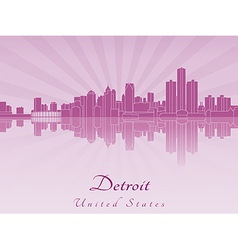 Detroit skyline in purple radiant orchid vector image