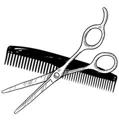 Doodle salon scissors comb vector