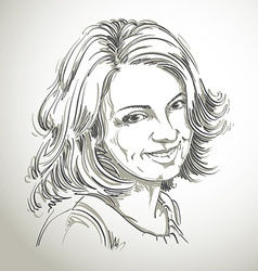 Drawing of smiling sincere woman with stylish vector