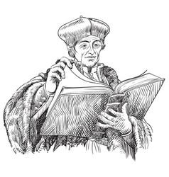 erasmus portrait vector image