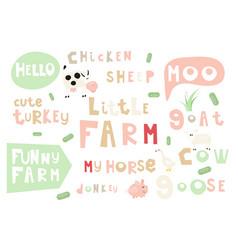 Farm words and phrases vector