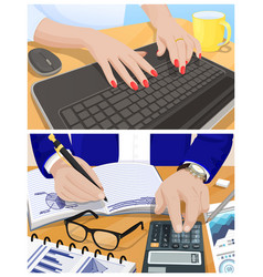female hands type on keyboard and male ones write vector image