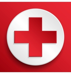 first aid medical button symbol vector image