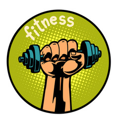fitness man hand with dumbbell icon symbol circle vector image