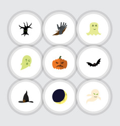 flat icon halloween set of zombie pumpkin witch vector image