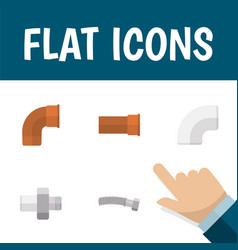 Flat icon plumbing set of connector cast iron vector
