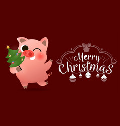funny smiling pig with decorated xmas tree poster vector image