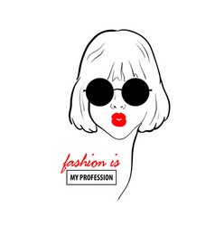 Glamour woman in black sunglasses red lips vector