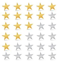 Gold and Silver Stars Set - Rating Symbols vector