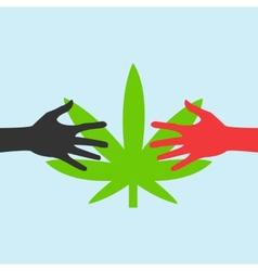 Hands reaching for a marijuana leaf vector