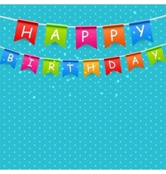 Happy birthday party background with flags vector