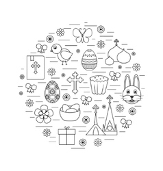 Happy Easter Line Icons Set Circle Shape vector image