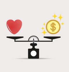 heart and money for scales icon balance scale vector image