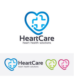 Heart care logo design vector