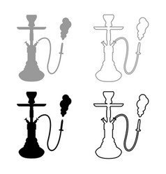 hookah shisha icon set grey black color vector image