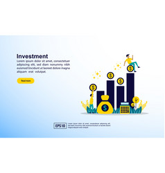 Investment concept with icon and character vector