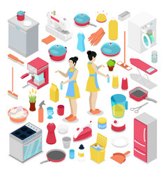 isometric housework objects with housewife vector image
