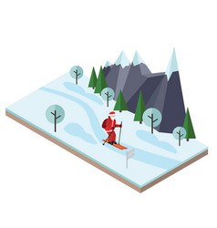 isometric santa claus skiing christmas and new vector image