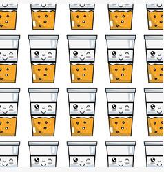 Kawaii cute funny drink beverage background vector