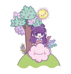 kids cute little girl anime cartoon cloud sun and vector image