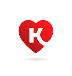 Letter k heart logo icon design template elements vector