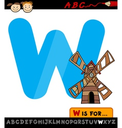 letter w with windmill cartoon vector image