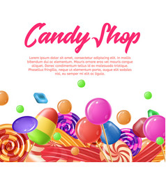 Lettering written candy shop banner landing page vector