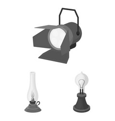 Light source monochrome icons in set collection vector