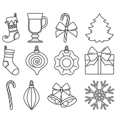 Line art black and white 12 xmas elements set vector