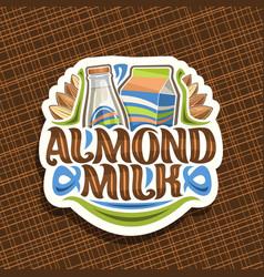 logo for almond milk vector image