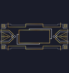 luxury gold art deco banner frame background vector image