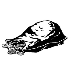 lying sack of coins vector image