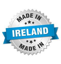 made in ireland silver badge with blue ribbon vector image