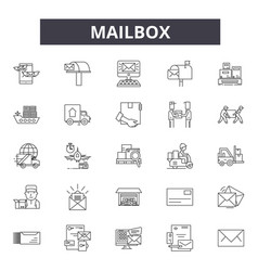 mailbox line icons signs set outline vector image