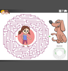 Maze educational game with girl and puppy dog vector