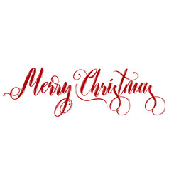merry christmas red lettering on white background vector image