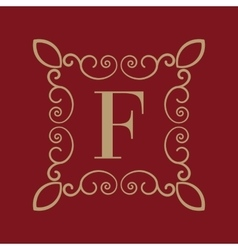 Monogram letter F Calligraphic ornament Gold vector