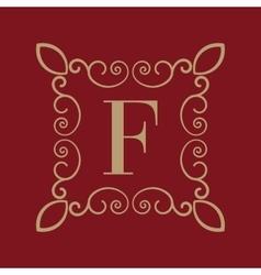 Monogram letter f calligraphic ornament gold vector