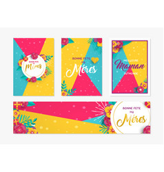 Mother day paper card and label set in french vector