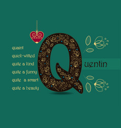 Name day greeting card with flowers and letter q vector