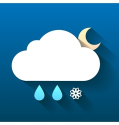 Night cloud snow flake and rain drops isolated on vector