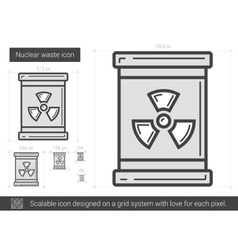 Nuclear waste line icon vector