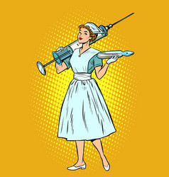 Nurse with syringe vector