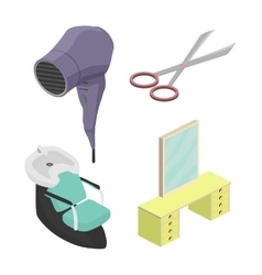 Objects in a beauty salon Isometric vector image