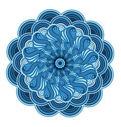 ornamental mandala blue color design isolated vector image