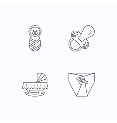 Pacifier newborn and diapers icons vector image