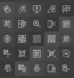 Qr code outline icons - set of scan codes vector