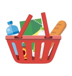 Red shopping basket with different products vector