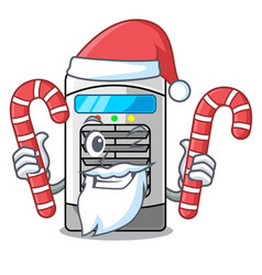 Santa with candy air cooler in cartoon shape vector