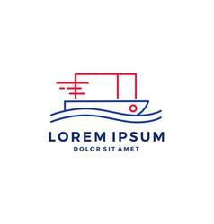 sea shipping cargo container fast quick logo vector image